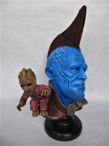 Yondu et Baby Groot buste.